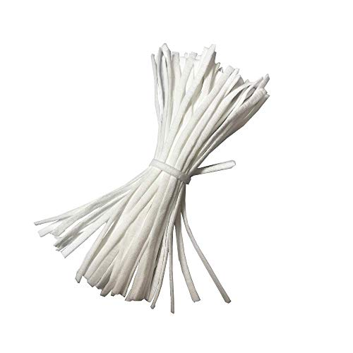 Elastic Bands for Sewing, Pre Cut Elastic Cord 30pcs 1/5 inch Width, Elastic String, Braided Elastic Band, Elastic Cord, Elastic Rope for DIY, Arts and Crafts - White