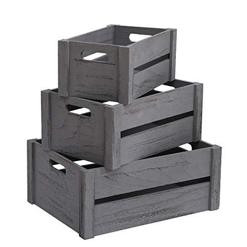 AOSENTE HOME Wooden Crates Set of 3 Large Decorative Wood Basket Storage Container