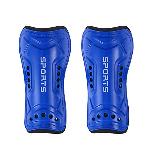 VORCOOL 1 Pair Youth Soccer Shin Guards Lightweight and Breathable Child Calf Protective Gear Soccer Equipment for 3-10 Years Old Boys Girls Children Teenagers(Blue)