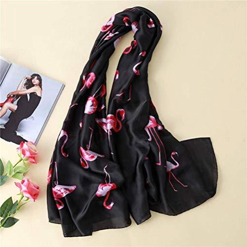 SLI-sjaal Simulatie Zijde Sjaal Vrouwelijke Mode Printing Zonnebrandcrème Sjaal Flamingo Patroon Beach Handdoek Herfst en Winter Sjaal, Zwart, 180 * 90cm