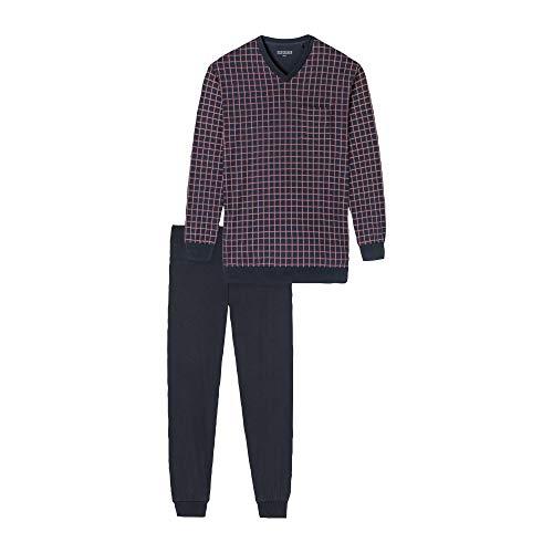 Schiesser Herren Hochwertiger Bündchen Schlafanzug 'Dark Sapphire' - Bordeaux - 60