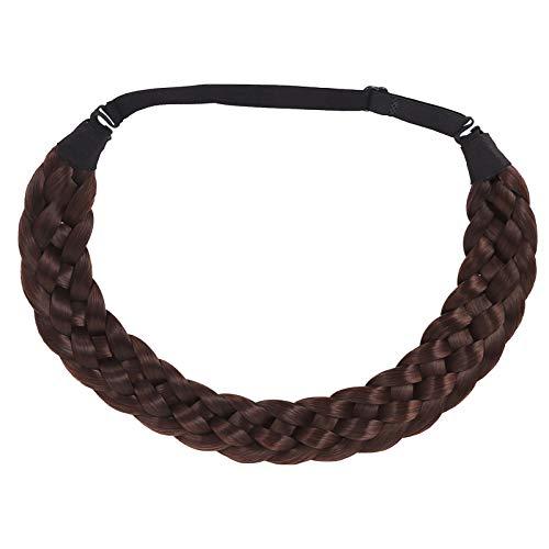 Heyu-Lotus Haarband Geflochten Hair Plait Hairband Elastisch Stretch Haarteil Verstellbare Kopfband Extensions Haar Geflochten Haarverlängerung für Damen (Dunkelbraun)