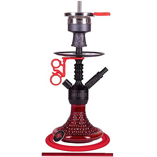 Amy Deluxe Shisha 072.03 Antique Berry Mini - 44 cm, Red RS Black, Wasserpfeife mit Klick, Schliff, Kammernsystem und Hot-Screen Kaminkopf-Set
