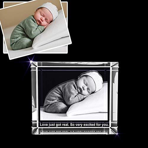 A&B Crystal Collection Recién nacido – Regalo fotográfico grabado en 3D – Recuerdo de felicitación y celebración (XL rectangular (4 x 6 x 3 pulgadas)