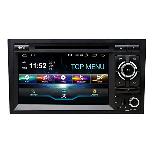SWTNVIN Android 10 Auto Audio Stereo Kopfeinheit passt für Audi A4 DVD Player Radio 7 Zoll HD Touchscreen GPS Navigation mit Bluetooth WiFi Lenkradsteuerung 2GB + 16GB