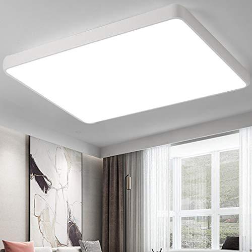 CASNIK 72W Ultradelgada Lámpara de techo LED Regulable Luces de techo Lámpara de la sala de estar del dormitorio de la cocina (Blanco, 72W Rectángulo)