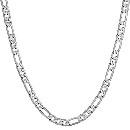 Lifetime Jewelry 4mm Figaro Chain Necklace 24k Gold Plated for Men Women & Teen (White Gold, 20)