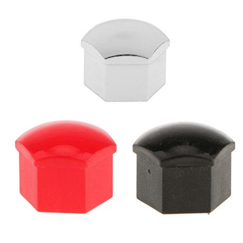 Sharplace 20er / Kappen Set Radschrauben Abdeckungen 17mm Radmuttern Kappen Radschrauben Radschraubenkappen Radkappen mit Abzieher - Rot