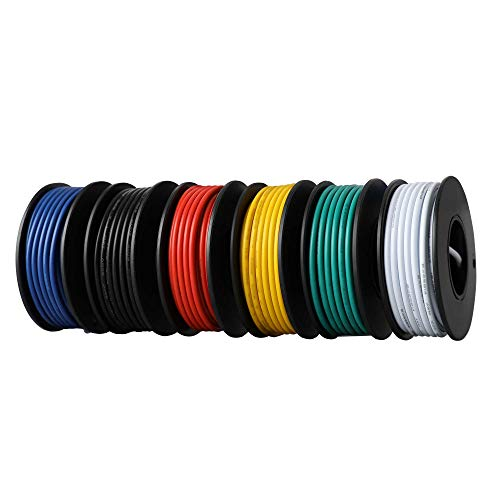 18AWG UL1007 PVC Stranded Tinned Copper Wire, Hook Up Wire 6 Colors (16.4ft Each) Flexible 34 Gauge PVC Insulated Electrical Wire, 300V Tinned Copper Electric Cable for General Application DIY
