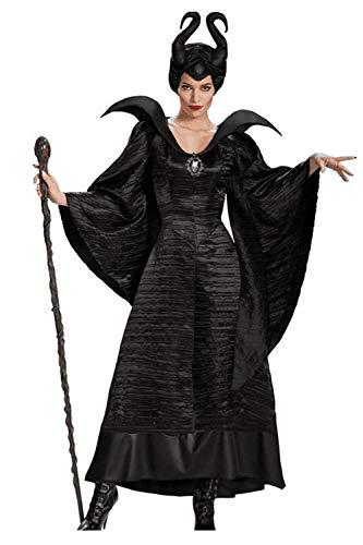 Zamtapary Donne Malefica Costume Nero Strega Cosplay Costumi con Indumenti Nero XS