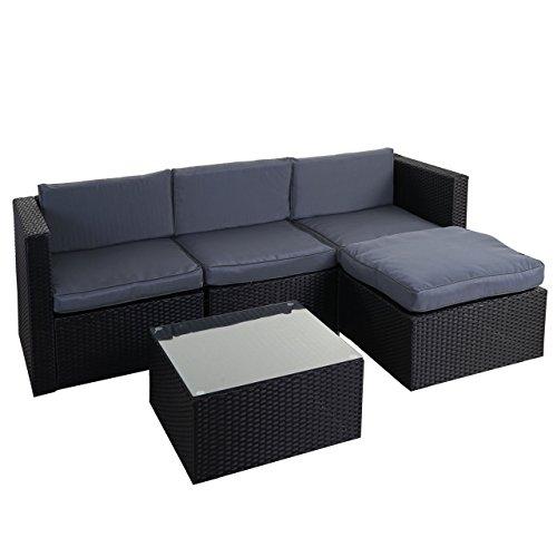 Mendler Poly-Rattan-Garnitur HWC-D28, Gartengarnitur Sofa Set - anthrazit, Polster grau ohne Deko-Kissen/Abdeckung