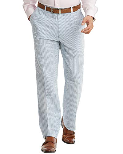 Tommy Hilfiger Mens Slim-Fit Cotton Stretch Seersucker Pants 36 x 32 Blue/White