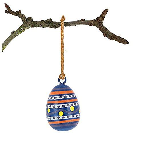 Osterdeko - Ei zum Aufhängen aus Mangoholz - Fair Trade (dunkelblau)