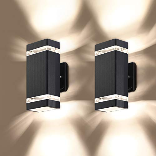 LMP 2 Pack LED Square Up and Down Lights Outdoor Wall Light,Body in Aluminum Waterproof Outdoor Wall Lamps,3000k 5W with Certificate ETL