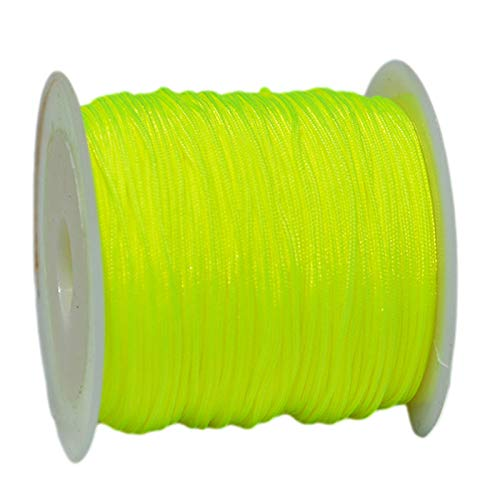 SHOUCAN Cordón De Hilo De Abalorios 0,8 mm Alambre De Hilo De Hilo De Jade Longitud 20 Metros Adecuado para Collar De Pulsera,Fluorescent Yellow