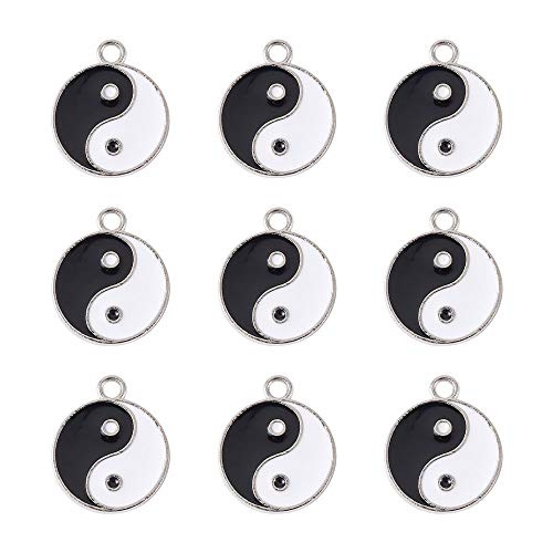 Cheriswelry 20 Stück Emaille-Anhänger mit 8 Trigramm, Tai Chi, Yin und Yang, für Schmuckherstellung, Loch: 2 mm.