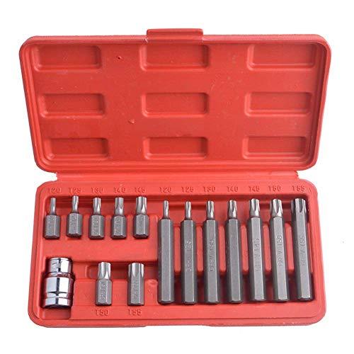 CT-CT Drill 15-Pieces Chrome Vanadium Steel Torx Bit Set Star Bits Set Including 14Pc Torx Bits and 1Pc 1/2 Drive Socket Adaptor Tools