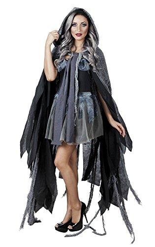 shoperama Schwarz-Grauer Vampir-Umhang mit Kapuze für Erwachsene Halloween-Kostüm Hexe Mantel Cape