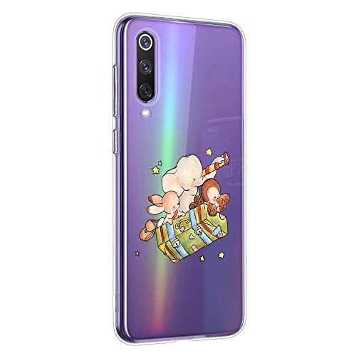 Oihxse Compatible pour Silicone Huawei Mate 20 Lite Coque Crystal Transparente TPU Ultra Fine Souple Housse avec Motif [Elephant Lapin] Anti-Rayures Protection Etui(B7)