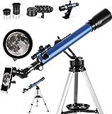 Telescopio Astronómico,Portátil Refractor Telescopio,60/700 mm,Ajustable Trípode,Adaptador Móvil,Apto Adultos, Niños y Principiantes