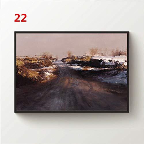 JackGo7 Landschaftszeichnung, Leinwand, Wandbild, Poster, Kunstdruck, Heimdekoration, ungerahmt, 22, 24X36inch/60x90cm