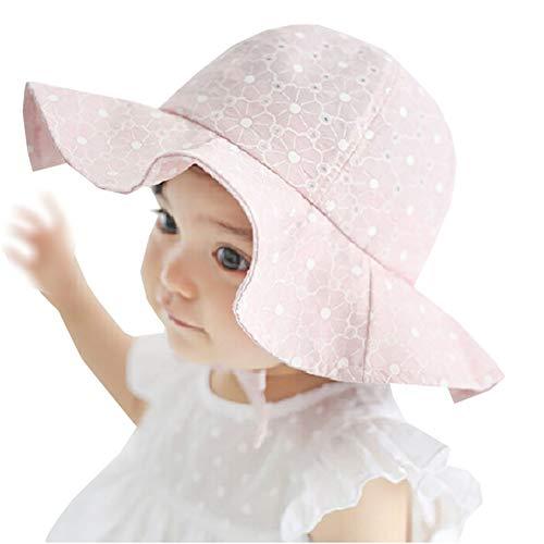 Carolilly Chapeau Soleil Bébé Fille Eté Anti-UV en Coton Casual Plage Vacances 1 à 4 Ans - Rose...