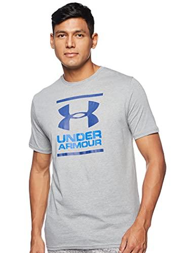 Under Armour UA GL Foundation Short Sleeve tee Camiseta, Hombre, Gris (Steel Light Heather/Versa Blue/American Blue), L
