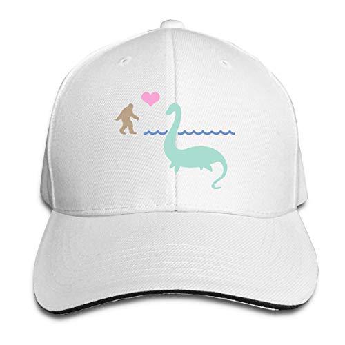 Sombrero Bigfoot y Loch Ness Mon-ster in Love Sombreros de sándwich Ajustables Gorra de béisbol Sombrero para el Sol