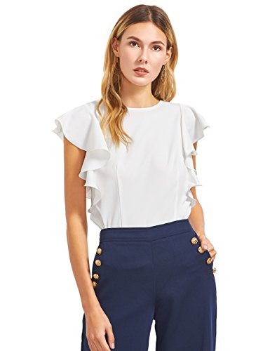 MakeMeChic Women's Solid Ruffle Sleeve Summer Tops and Blouses White S