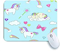 Mabby マウスマット ゲーミング オフィス マウス パッド,Vector seamless pattern with cute unicorns, rainbow clouds, magicsticks and heart stars,Non-Slip Rubber Base Mousepad for Laptop Computer PC Office