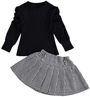 Kids Toddler Baby Girl Outfit Knitted Long Puff Sleeve Sweater Tops with Houndstooth Skirt 2pcs product image