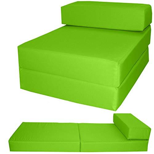 Zafiro 100% algodón Z cama individual plegable silla cama cama invitado sofá futón colchón espuma suave, cómodo con una funda extraíble con cremallera, 10 colores (Lime)