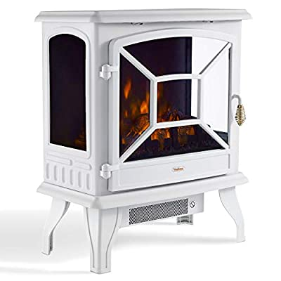 VonHaus Panoramic Electric Stove Heater – 1800W Fireplace with LED Log Fire Flame Effect – Adjustable Thermostat, Freestanding & Portable with Overheat Protection - Ideal for Living Room - White