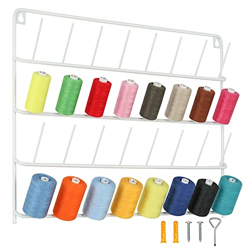 HAITRAL 32 Spulen Metall Nähgarnständer, Fadenspulen Organizer, Wandmontierter Garnhalter mit Haken zum Aufhängen, Metallständer Zum Organizer Von Nähgarn, Quilten, Stickerei - Weiß