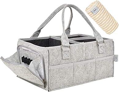 RSY - Organizador de pañales para bebé con cambiador extra   Más grande, más fuerte y más seguro   Caja de almacenamiento portátil gris   Caja de bebé con compartimentos intercambiables