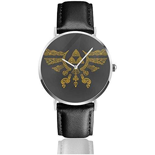 Unisex Henna Hylian Symbol Zelda Relojes Reloj de Cuero de Cuarzo con Correa de Cuero Negro
