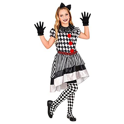 WIDMANN - Disfraz infantil retro de clown, vestido con cuello de payaso, lazo, guantes, para nias, a cuadros, rayas, disfraz, fiesta temtica, carnaval, Halloween.