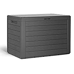 Lovely storage box for your garden, balcony or patio. Dimensions: (LxWxH) 780x438x550mm. Material: Plastic. Capacity: 190 L. Storage box 'Lille' in wooden design made from plastic and perfectly suitable for cushions, seat pads, pillows and other gard...