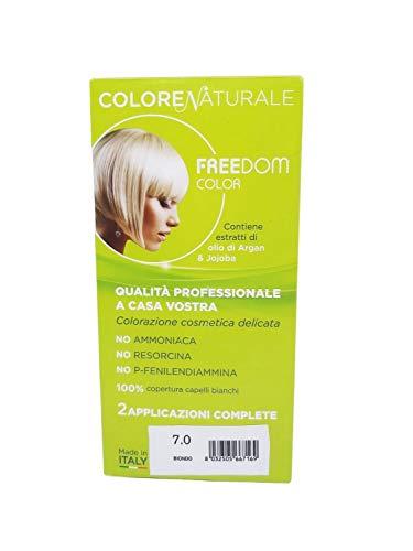 Tinta Capelli Senza Ammoniaca, Colore Naturale, Colorazione Permanente per una Fragranza Delicata, Copre il 100% dei Capelli, Con Estratti di Olio di Argan & Jojoba, Made in Italy (Biondo)