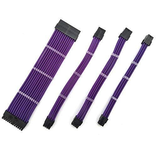 Mujer de 18 AWG Cable Masculino Manga Fuente de alimentación de energía de Extensión/Kits de Cables 1X ATX 24P CPU 8P PCI-E y 8P 6P (Cable Length : 700mm, Color : Purple)