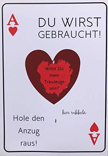 Trauzeuge Rubbelkarte HERZ As + Flaschenöffner PIK As -> HOLE DEN ANZUG RAUS -> Willst du mein Trauzeuge sein ? -> Hochzeit Jungesellenabschied Geschenk, (Trauzeuge Herz)
