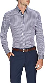 Tarocash Men's Chaplin Stripe Shirt Cotton Blend Regular Fit Long Sleeve Sizes XS-5XL for Going Out Smart Occasionwear