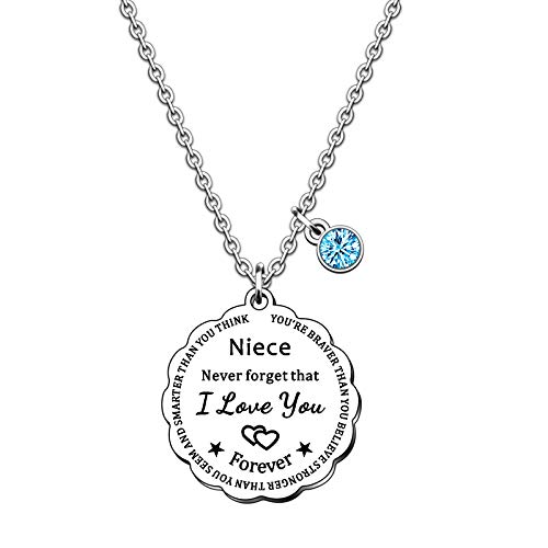 SMARGO Inspirational Charm Niece Necklace Gifts For Girls Birthday Christmas Jewellery Presents From Auntie Uncle You Are Braver Than You Believe
