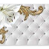 murando - Fototapete Leder-Optik 400x280 cm - Vlies Tapete - Moderne Wanddeko - Design Tapete - Wandtapete - Wand Dekoration - Blumen Lilien Ornament weiß Steppmuster f-C-0112-a-a