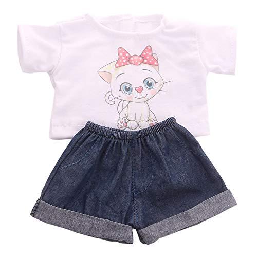 Uteruik Ropa Doll para 46cm / 18in American Girl Doll Trajes Casuales - Camiseta y Accesorio de Vestuario de Pantalones Cortos de Mezclilla, 2pcs / Set (Estilo-B)