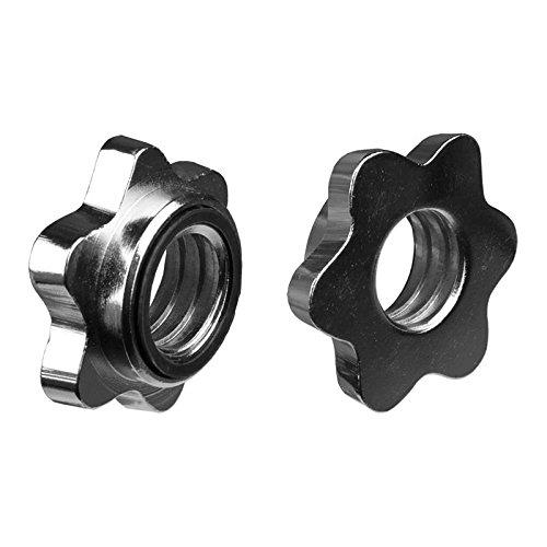 ScSPORTS® 2X Schraubverschluss für Hantelstangen, 30 mm Durchmesser, integrierter Gummiring fixiert die Hantelscheiben, Sternverschluss