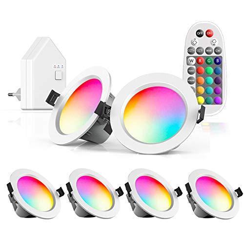 Arotelicht Foco LED empotrable, 230V, 9W, Control por Bluetooth/APP, regulable, luz blanca cálida, RGB, para baño, cocina, sótano, pasillo (6 SETs with Remote control/WiFi bridge, 9W)