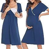 HOTLOOX Camisón Premamá Corto Camisón de Lactancia Ropa para Dormir para Mujeres Embarazadas Conveniente y Cómoda, Azul XXL