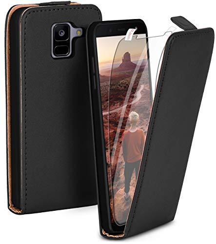 moex Flip Hülle mit Schutzfolie für Samsung Galaxy A8 (2018) - Handytasche klappbar, Schwarz