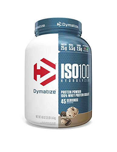 Dymatize ISO100 Hydrolyzed Protein Powder, 100% Whey Isolate Protein, 25g of Protein, 5.5g BCAAs, Gluten Free, Fast Absorbing, Easy Digesting, Cookies & Cream, 3 Pound